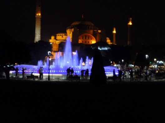 Early and late, people hang out between in the square between the Blue Mosque and Agia Sophia