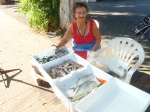 This fishmonger is a character. She is fun to watch as she aggressively markets her wares.
