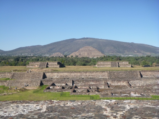 A view toward the Pyramid of the Moon (left) and the Pyramid of the Sun (right).