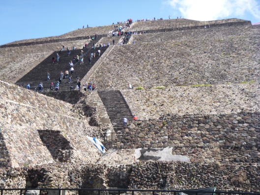 We climbed the Pyramid of the Sun, walking the perimeter on each landing.